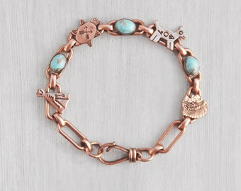 "Vintage Copper Trading Post Bracelet - linked teepee, Indian chief, animal symbols, faux turquoise cabs 7.5"" long - tribal style jewelry"