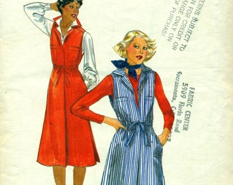 Butterick 5521 Semi-Fitted 1970s Jumper Drawstring Waist Size 10 c. 1977