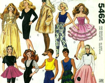 McCall's 5462 Barbie Ken Fashion Doll Clothes ©1991
