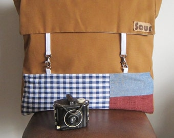 ON SALE Chasing Light // Caramel Canvas, Blue Gingham, Chambray and Maroon Backpack with adjustable straps