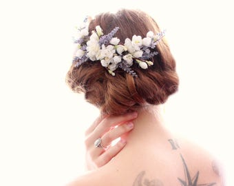 Lavender floral vine comb, Cherry blossom, bridal flower hair comb, Floral hair vine, white headpiece, Bridal hair clip, wedding comb