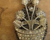 flower basket ~ antique locket steel cut rhinestone necklace