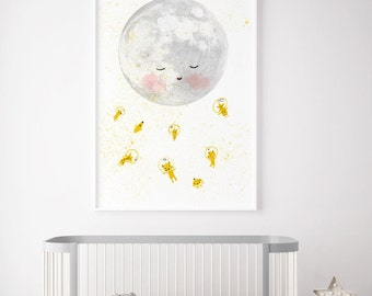 Moon space astronaut, Boys room decor, boys wall decor, boys room wall art, art for boys room, kids room decor, boy nursery decor