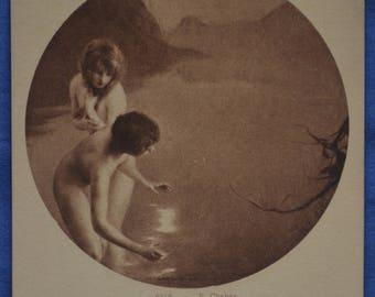 Art 2 Nude Girls Fishing Pecheuses De Lune Paul Emile Chabas Early 20th Century Postcard Made Paris France