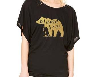 Mama Bear Ladie's Flowy Dolman Shirt - Black Shirt, Matte Gold Metallic Vinyl Bear with Bear Cub Silhouette and Hand Lettering Inside