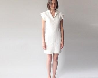 white denim dress | stretchy minimalist bodycon zip up dress | 1990s small - medium