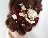 bridal headpiece, burgundy hair clip, ivory wedding hair piece, bridal hair piece, burgundy hair accessories, Swarovski, burgundy flower,