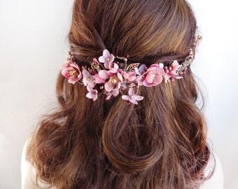 mauve wedding, floral hair comb, dusty pink hair flower, bridal hair comb, floral hair piece, hair vine, gold headpiece, floral hair vine