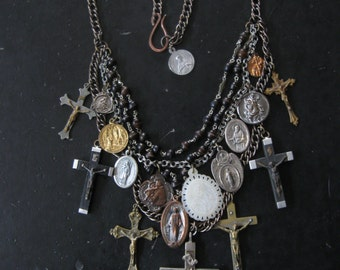 Saint Medallion Statement Necklace with Upcycled Rosary and Antique Catholic Medals and Crucifixes