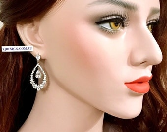 Teardrop Bridal Earrings, Cz Wedding Earrings, Loop Earrings, Pear Drop Earrings, Dangle Earrings, Cubic Zirconia Wedding Jewelry, INGA