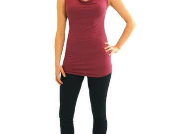 Simple Cowl Tank - XS - POMEGRANATE - Organic Cotton/Spandex