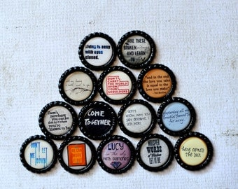 The Beatles Song Lyrics Bottlecap Magnets- Blackbird, Hey Jude, Lucy in the Sky, Come Together, Hello Goodbye, Let it Be, Yesterday