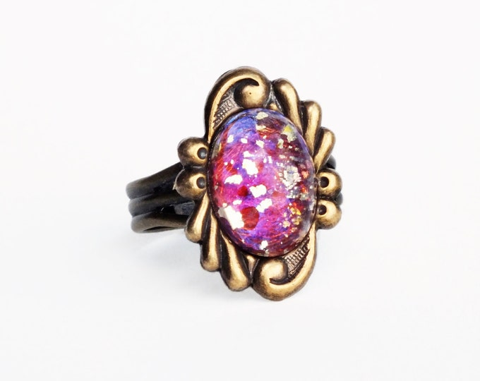 Fuchsia Pink Glass Ring Vintage Red Fire Opal Ring Adjustable Antique Brass Ring Ornate Victorian Ring