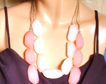 Gold Tone Salmon Double Strand Chain Necklace