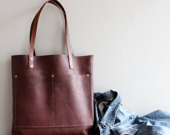 Brown Dark Burgundy Leather Tote