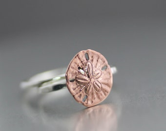 Sand Dollar Ring, Beach Ring, Stack Ring, Sterling Ring, Ocean Ring, Sterling, Tide Pool Ring, Sand Dollar, Copper Sand Dollar, Midi Ring