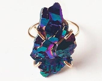 SALE Titanium Druzy Gold Ring OOAK