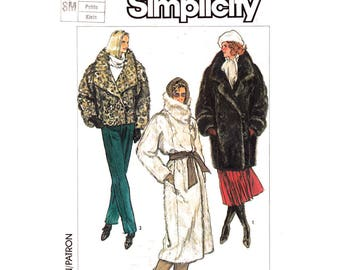Faux Fur Coat Pattern Simplicity 7183 Asymmetrical Long Lined Coat Kimono Sleeve Jacket Size 10 12