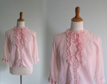50s Pink Blouse - Vintage Pale Pink Sheer Ruffled Blouse - Delicate 50s Sheer Blouse with Ruffles - Vintage 1950s Blouse M