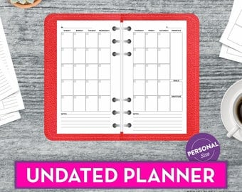Filofax Personal Insert Personal Planner Pages Monthly Planner Printable Filofax Personal Size Printable Kikki K Inserts Instant Download