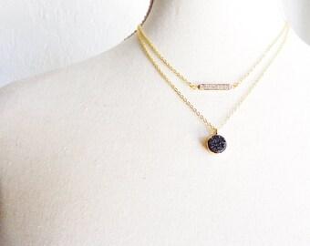 Druzy Necklace - Crystal Necklace - Druzy Drusy Crystal Necklace Set - Black Round Druzy Necklace - Natural Druzy Pendant