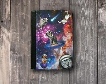 Passport Cover Cats in Space Funny Solar System Passport Case Passport holder Vegan Friendly