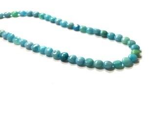 6MM Blue Jasper  Button Beads  ,  15.5  Inch Strand