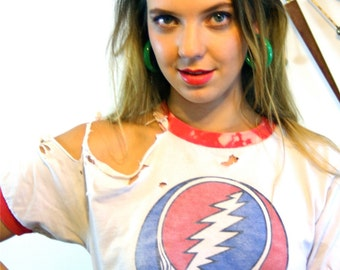 Vintage The Grateful Dead T-Shirt I Steal Your Face Thrashed Destroyed Rock n Roll Holes Red White Blue Skull Distressed Cotton Ringer Tee