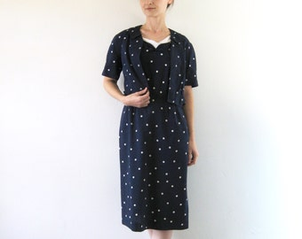 1950s Vintage Polka Dot Dress Jacket Set Navy Blue White Pin-Up Rockabilly Wiggle Dress S