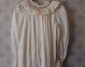 Victorian White Cotton Long Sleeve Women's Lace Trimmed Nightgown