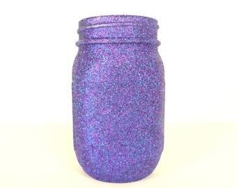 Purple and Blue Blend Glittered Pint Mason Jar, Flower Vase, Wedding Decoration, Makeup Brush Holder, Pen and Pencil Holder