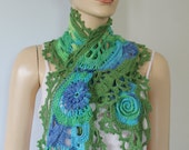 Multicolor Freeform Crochet Blue Green Lace Scarf ,Cotton Wrap, summer crochet shrug, beach knit wear,  Cover Up , Belt,Festival Boho Hippie
