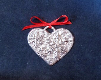 Pewter Heart w/ Snowflakes Ornament