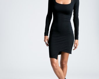 Party Dress / Pencil Dress with Asymmetric Hem / Square Neckline / Cocktail Dress / Long Sleeve Dress / marcellamoda - MD715
