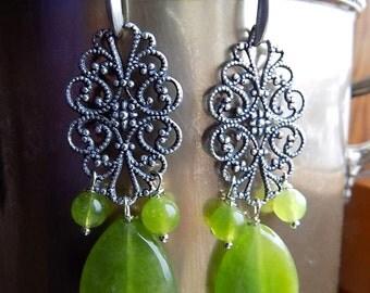 Antique filigree earrings with apple green quartz