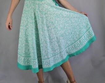 90s does 50s Light Green Provencal Cotton Full Skirt, Fit and Flare, Midi Skirt, Boho Skirt, vlv, Viva las vegas, Pinup, Size Medium
