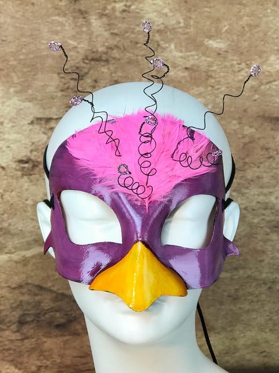 Pink Bird Leather Mask