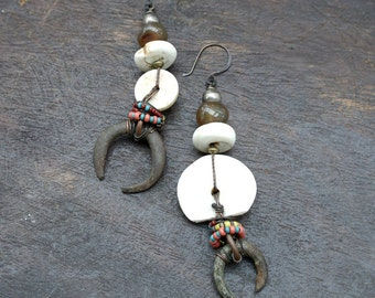 Primitive Horns - Conch and Bones - Tribal Statement Earrings