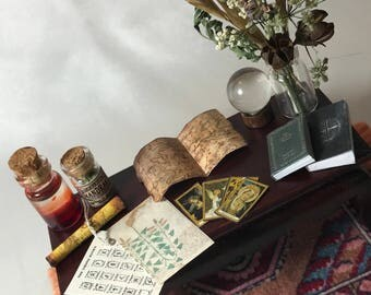"""Dollhouse witch accessories, set 5 of 7, potion, crystal ball, herbs, books, tarot cards, and more!  1:12 1/12 1"""""""
