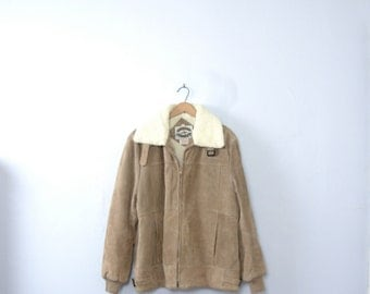 Vintage 90's suede leather bomber jacket, shearling collar, suede winter coat, size large