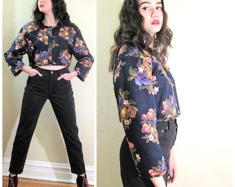 Vintage 1980s Sonia Rykiel Black Floral Print Jacket / 80s Designer Cropped Quilted Jacket / Med