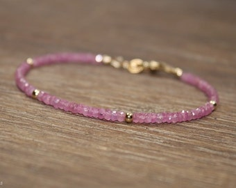 Pink Sapphire Bracelet, Pink Sapphire Jewelry, September Birthstone, Gold Filled, Sterling Silver or Rose Gold Filled Beads