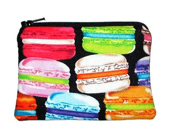 CLEARANCE - French Macarons Coin Change Purse Small Zipper Pouch - Ready to Ship