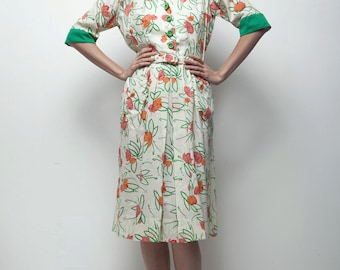 pocket day dress vintage 70s garden green floral flower drawing print LARGE L
