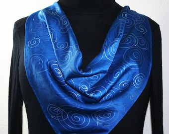 Sapphire Blue, Silver Hand Painted Silk Scarf SAPPHIRE NIGHT, Size 22x22 Square, by Silk Scarves Colorado. Anniversary Gift, Christmas Gift
