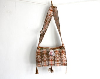 SALE Brown Tassel Textile Purse