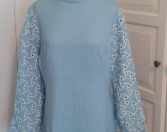 60s Sky Blue Dress, Linen, Gloria Swanson, Forever Young, Embroidered Cutwork Sleeves, Bell Sleeves, Size Medium