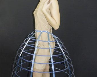 Dark blue color hoop cage skirt pannier 8 rows plastic boned crinoline 31 inches long