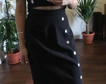 2 piece navy crop top button back skirt set