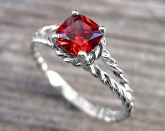 Ruby Gemstone Engagement Ring, Promise Ring, Cushion Ruby Engagement Ring, White Gold Twisted Rope Ruby Engagement Ring July Birthstone